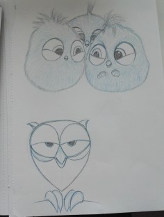 Angry Birds and Owl Sketches