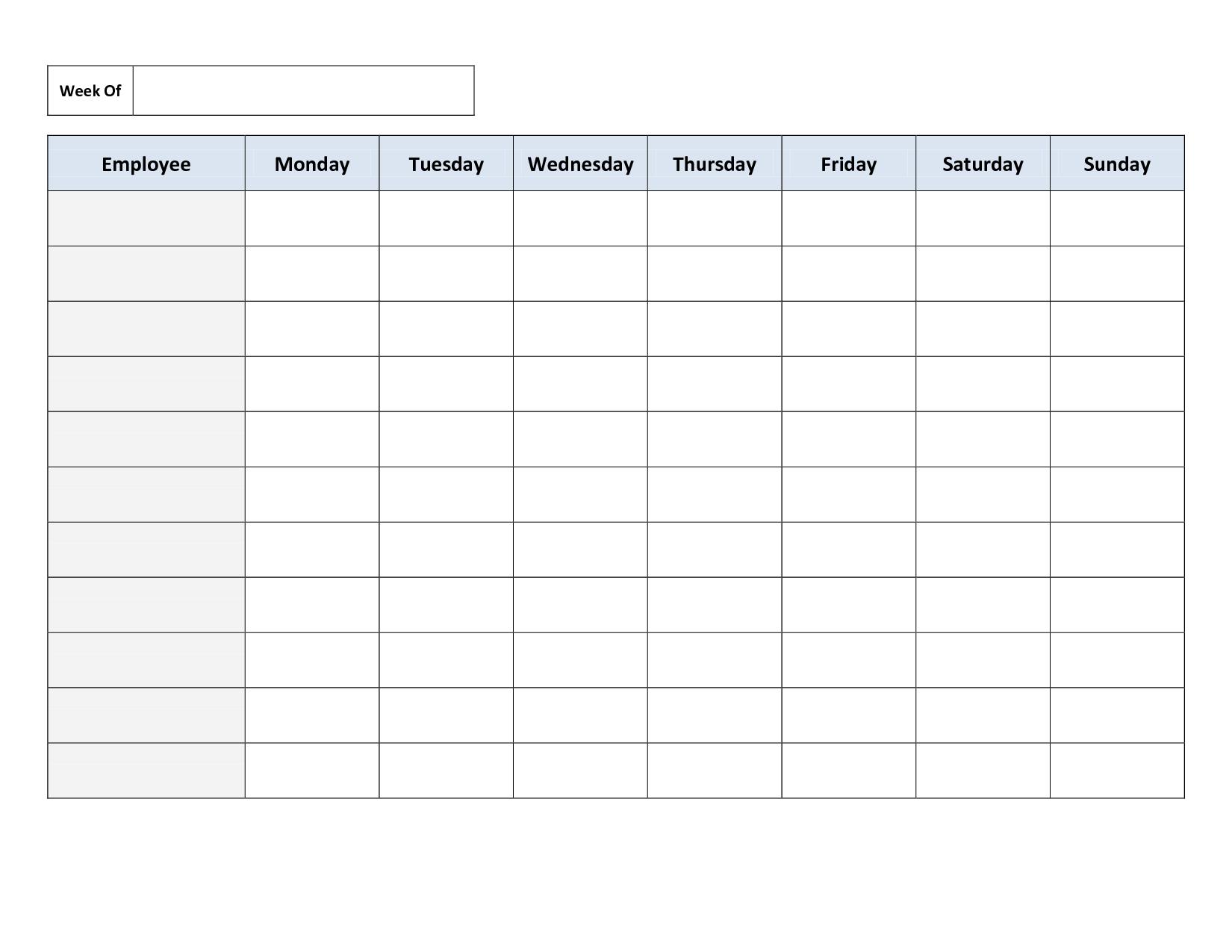 Blank Employee Schedule