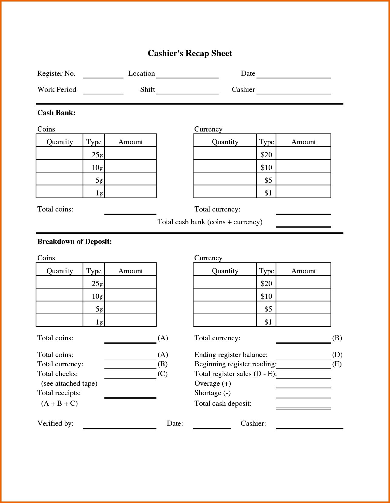 Petty Cash Counting Worksheet