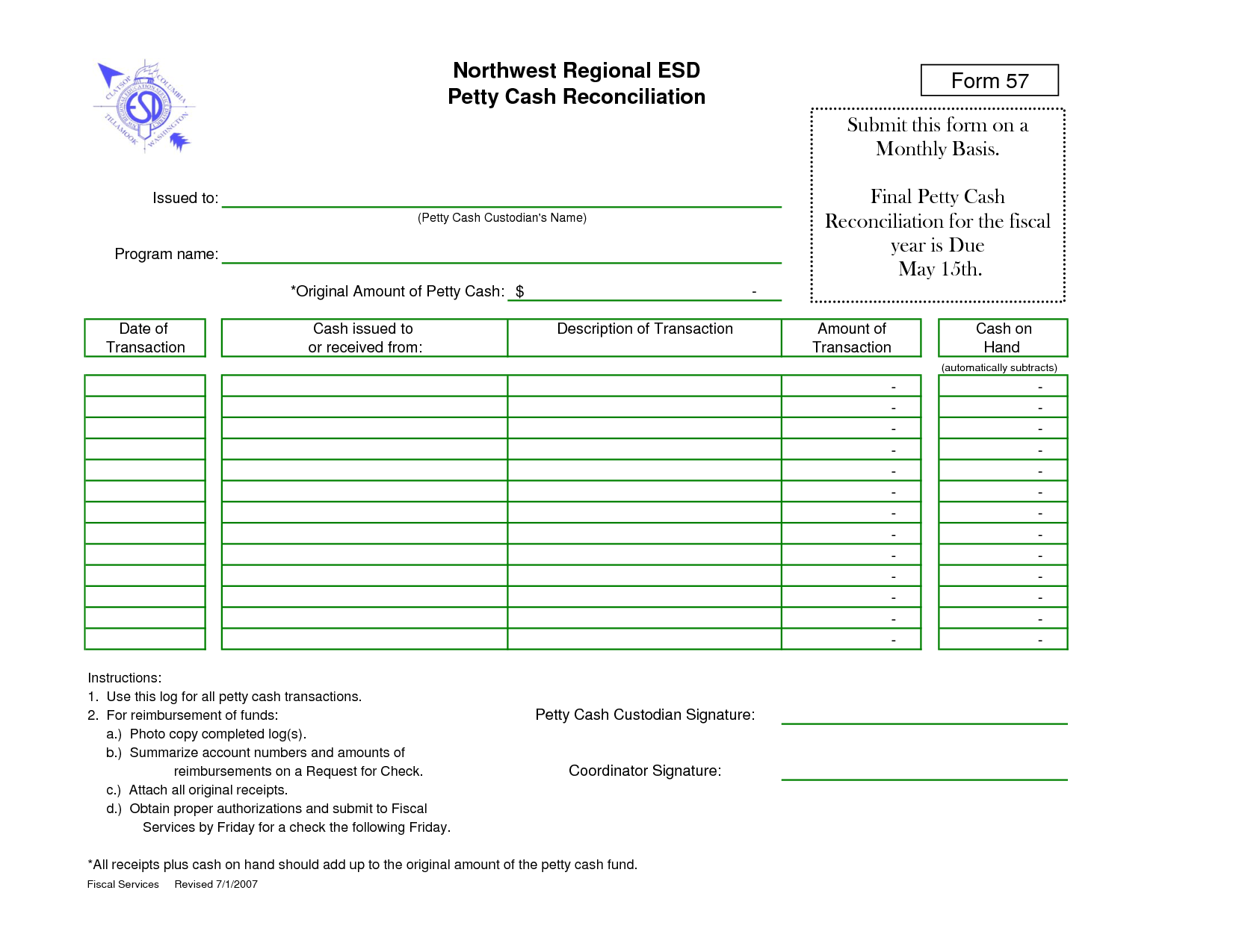 Cash Reconciliation Forms