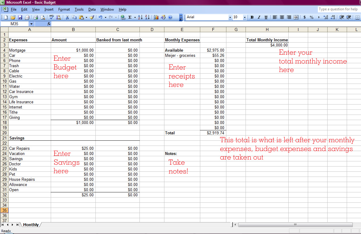 Church Tithing Excel Template