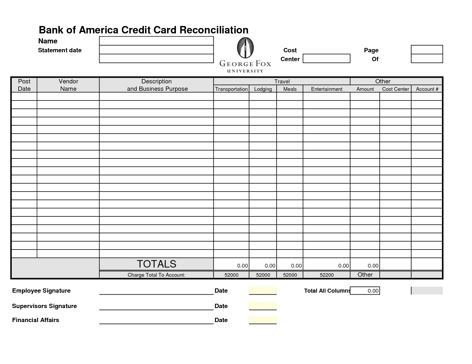 Credit Card Reconciliation Template
