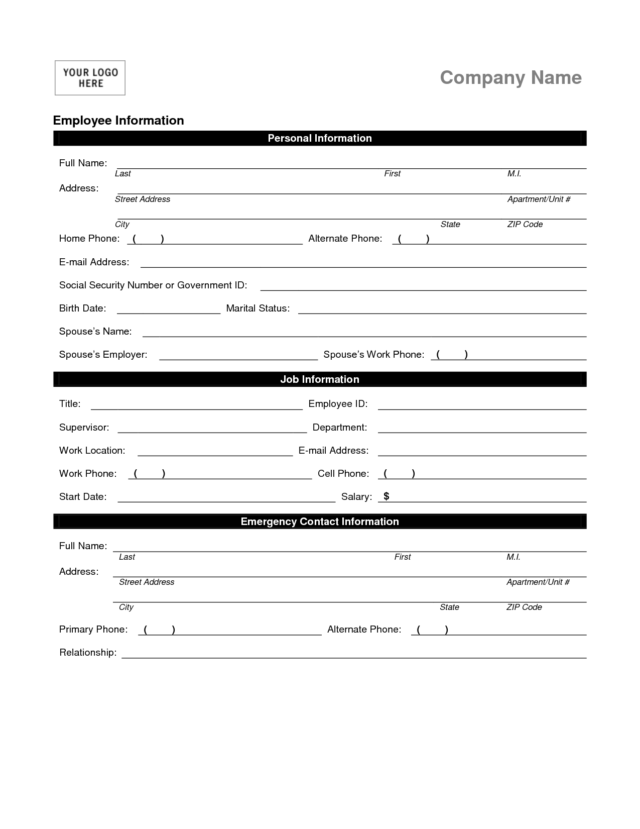 Employee Information Forms Templates
