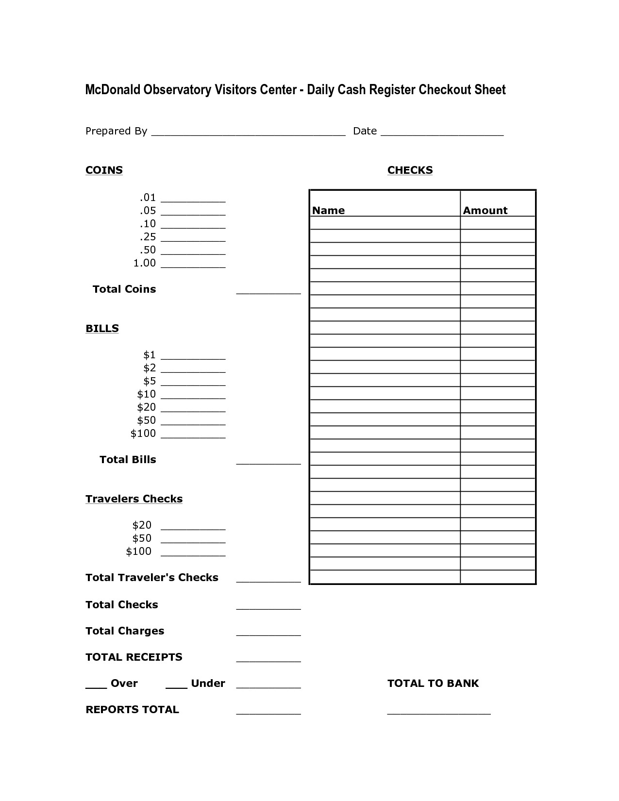 Money Change Worksheet For Business