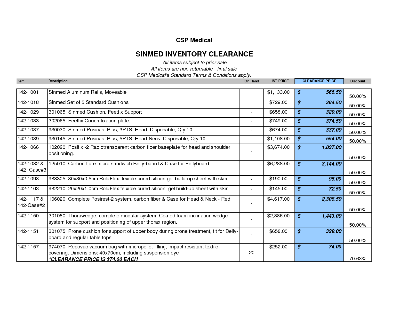 Inventory List For Medical Office