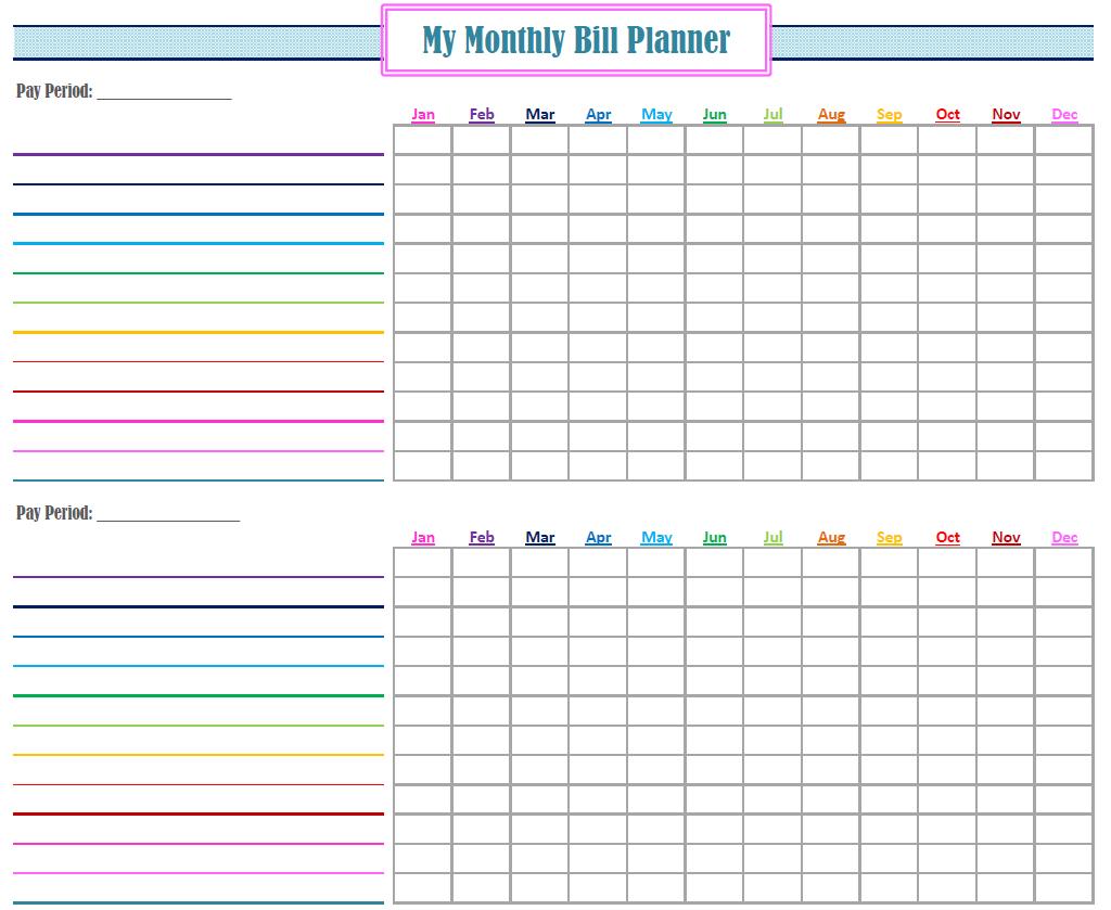 Monthly Bill Organizer Printable