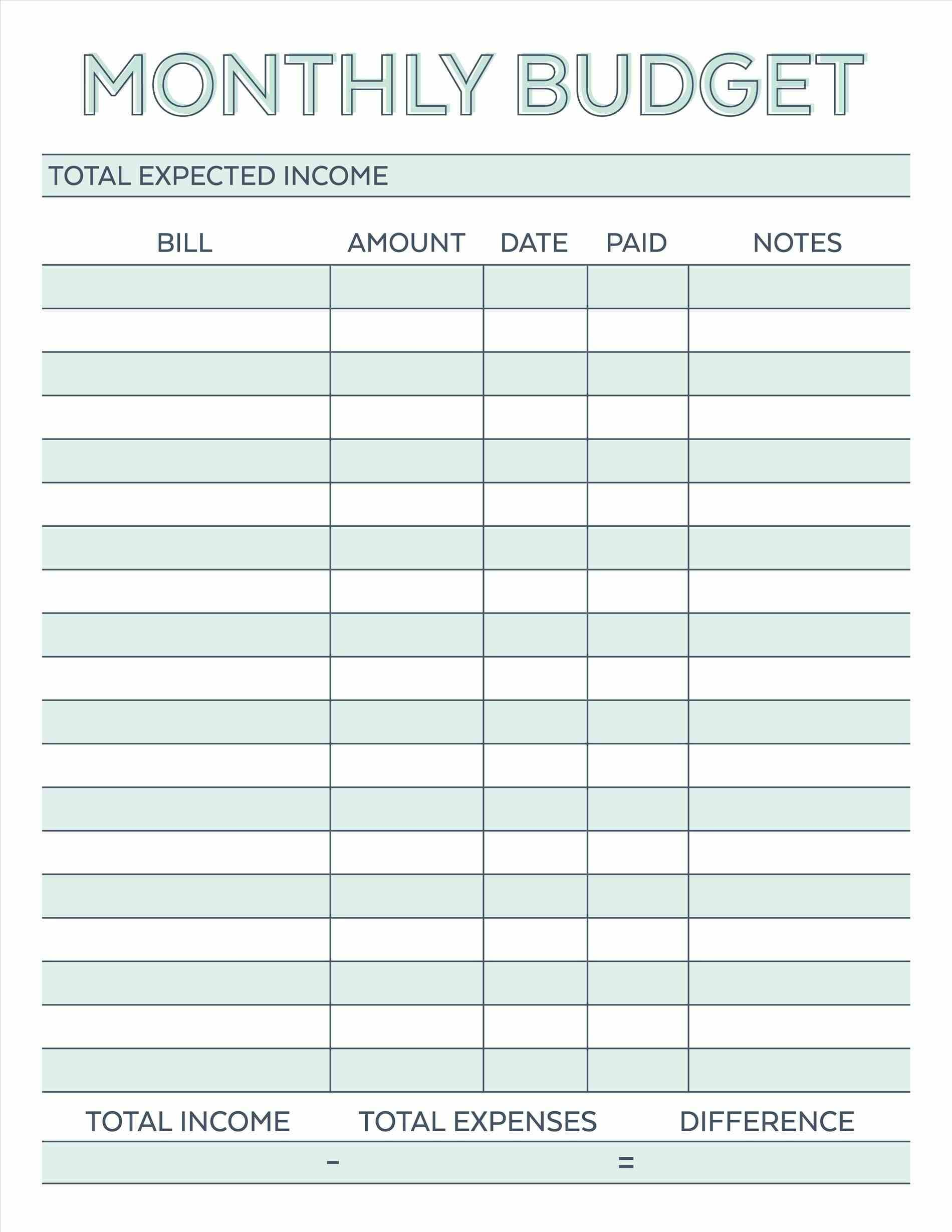 Monthly Bills Template
