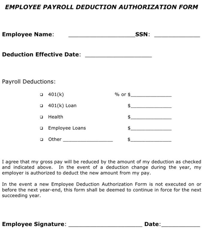 Payroll Authorization Form | Payroll Deduction Authorisation Form Template Its Your Template