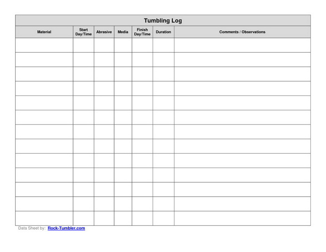 Printable Log Sheet
