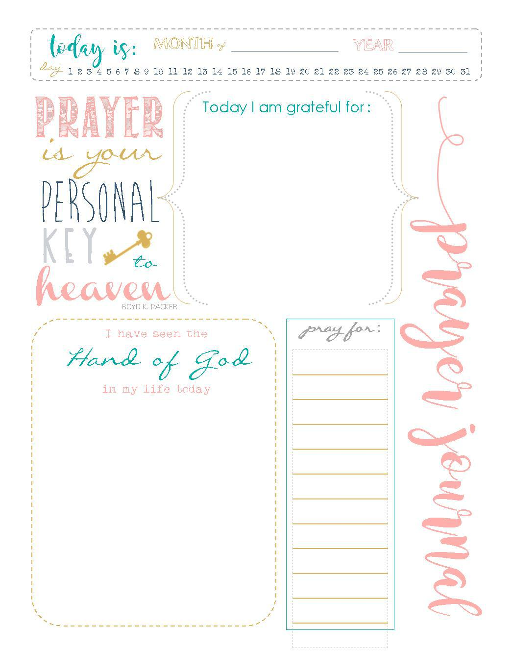 Printable Prayer Journal Template