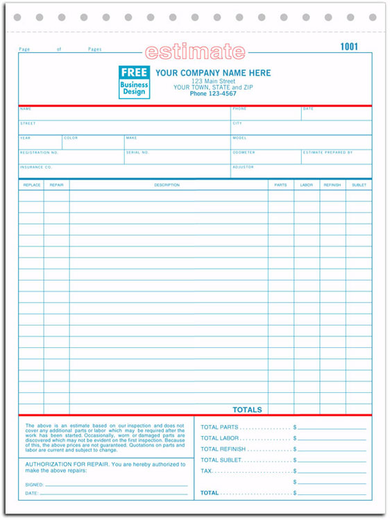 Body Shop Work Order Forms