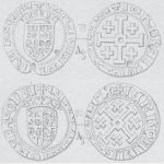 Silver gros coins of Charlotte. Issued 1458–1460, Cyprus. Obverse: Crowned shield with Lusignan coat of arms, CARLOTA DI GRA REGNA. Reverse: Cross of Jerusalem, IERVZALM E D CHIPR