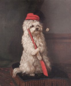A portrait of her dog. These paintings were popular in England and Canada.
