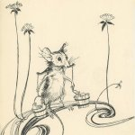 A mouse by Arthur Rackham,carrying tiny buckets of water