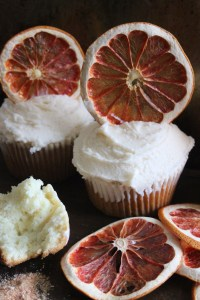 vanilla grapefruit cupcake with dried grapefruit tops