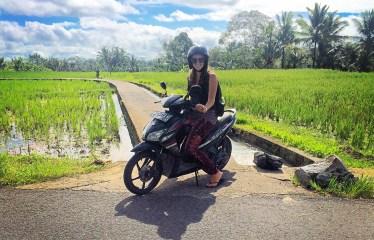 Five months later, motorbiking in Bali