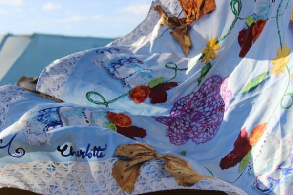 silk scarf with art print