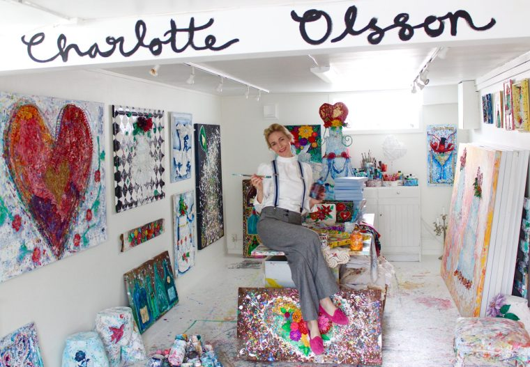 Charlotte_olsson_konst_svenskkonst_atelje_tavla_art_painting_champagne_cake_flowers_colorful