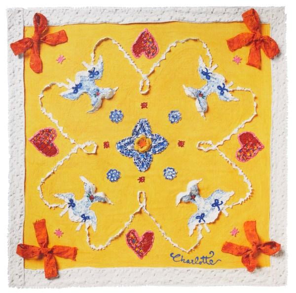Charlotte_Olsson_Art_Konst_Scarf_ull_siden_wool_silk_design_mönster_yellow_gul_sunny_flirt