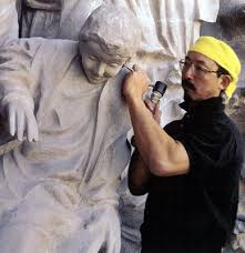 Etsuro Sotoo at work on Gaudi's Sagrada Familia.