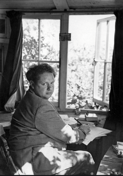 Dylan Thomas in his writing shed at the boat house, Laugharne
