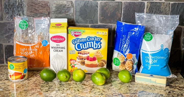 Frozen Coconut Lime Pie ingredients