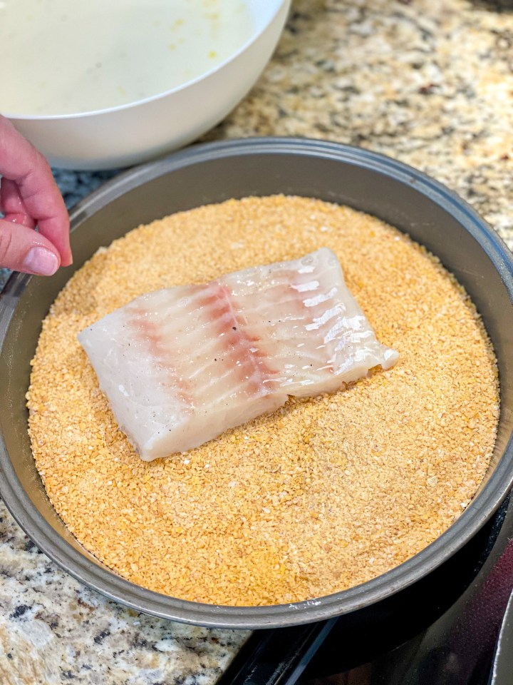 Cornflake Crusted Cod process