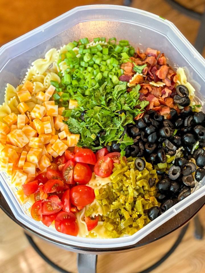 Tex Mex Pasta Salad mix ins