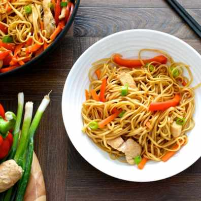 Quick and easy chicken chow mien recipe. With detailed nutritional information. Under 400 calories per serving.