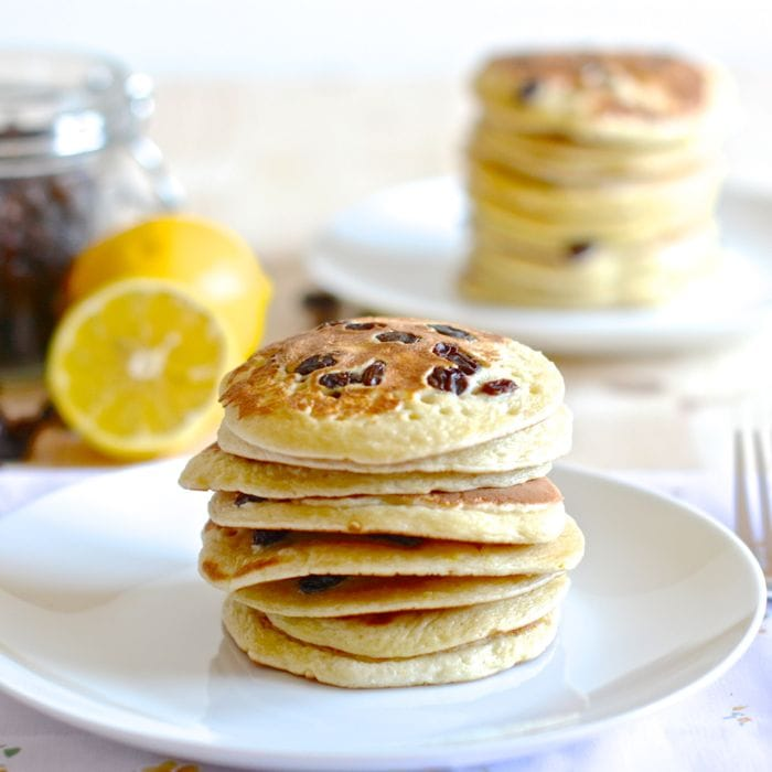 Try a twist on traditional American Pancakes by adding lemon zest and juicy raisins - Delicious.