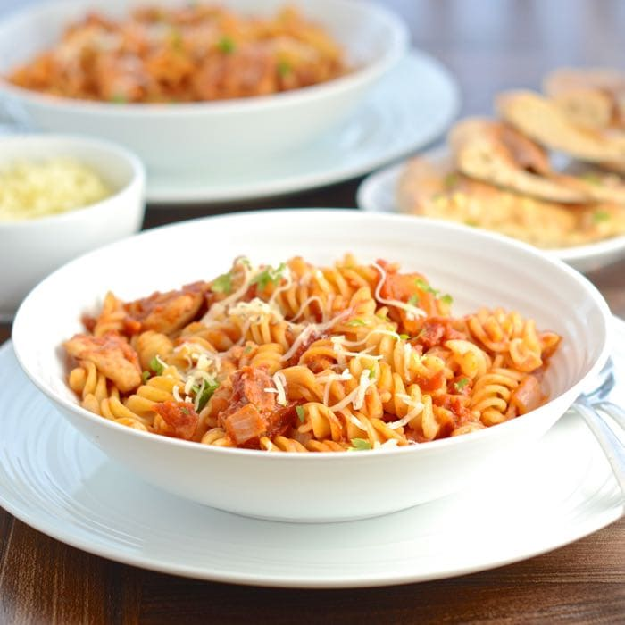 Barbecue Chicken and Bacon Pasta