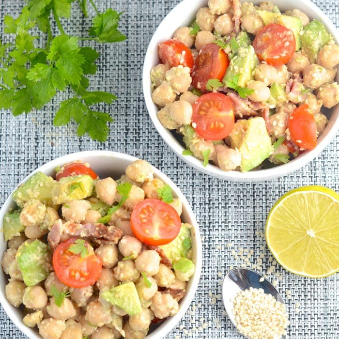 chickpea bacon avocado salad above