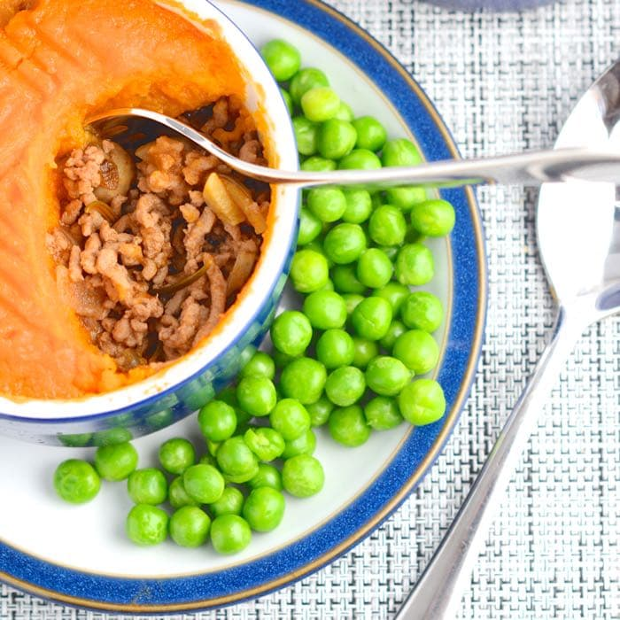 A delicious alternative to cottage pie, made with minced pork and topped with sweet potato. Low calorie and full of flavour.