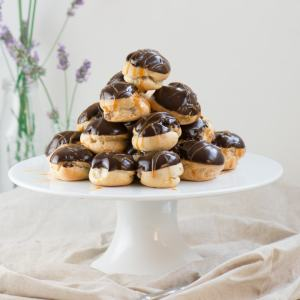 Double Chocolate and Caramel Profiteroles