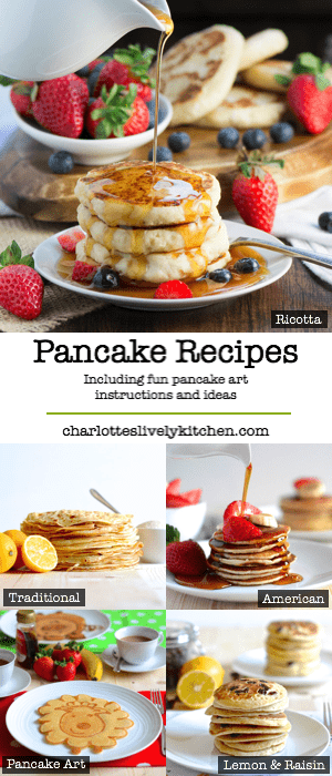 A selection of delicious pancake recipes, including fun pancake art instructions and ideas.