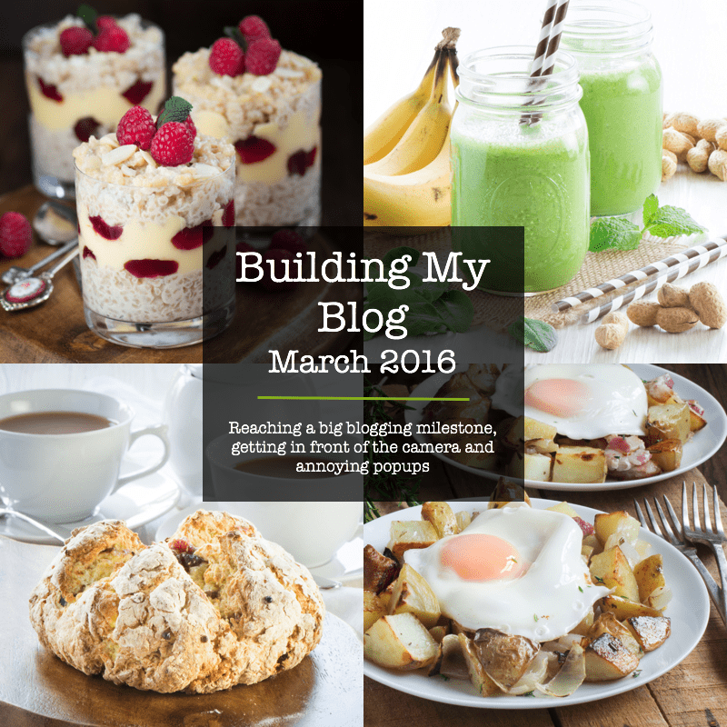 Behind the scenes of my blog in March 2016, including reaching a big blogging milestone, getting in front of the camera and annoying popups.