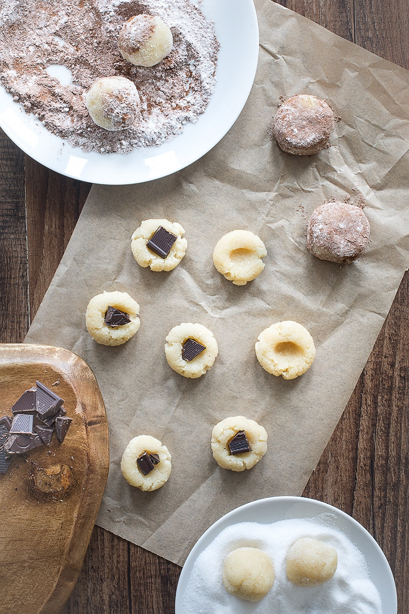 My twist on the traditional soft Amaretti biscuit, with a hidden dark chocolate centre.