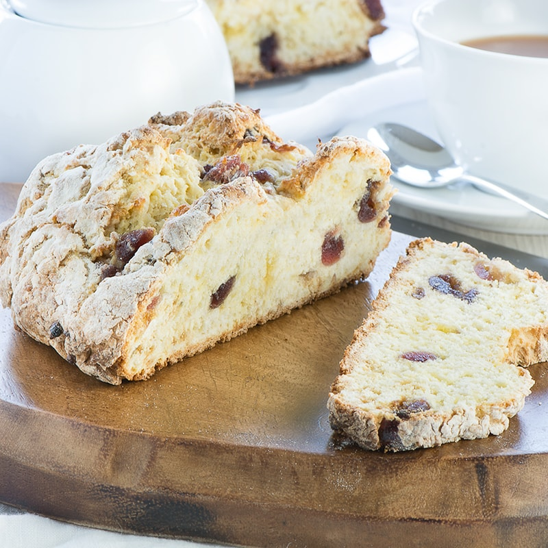 A delicious and really simple sweet soda bread flavoured with marzipan, cherries and orange blossom water.