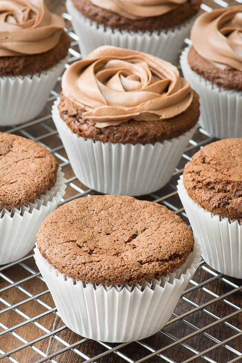 Incredibly simple 3-ingredient Nutella cupcakes topped with delicious Nutella buttercream.