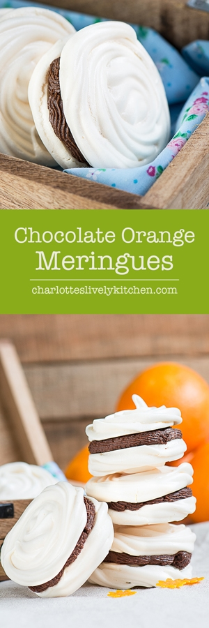 Delicious meringue with a hint of orange and a rich milk chocolate ganache filling.