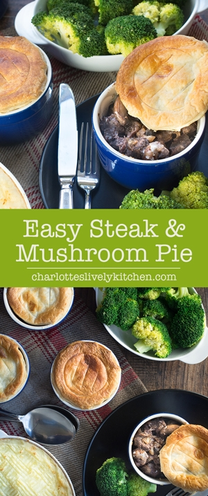 My super easy and really delicious steak and mushroom pie. Ready for the oven in just a few minutes, it's the perfect midweek dinner.
