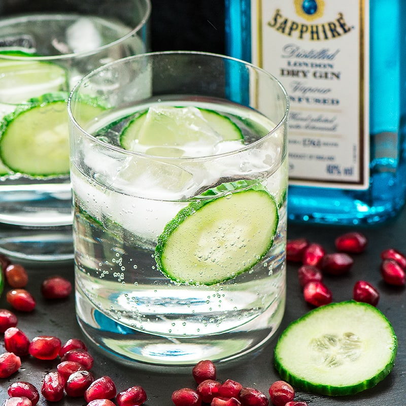 Gin and tonic with cucumber and pomegranate