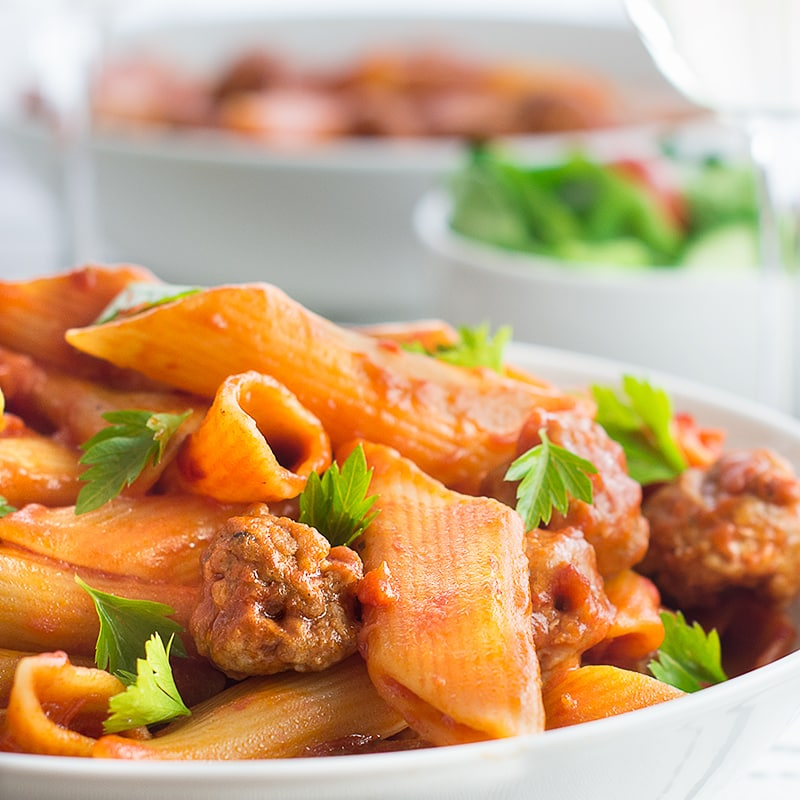 One-pot spicy sausage pasta - really simple to make and half the washing up of regular pasta.