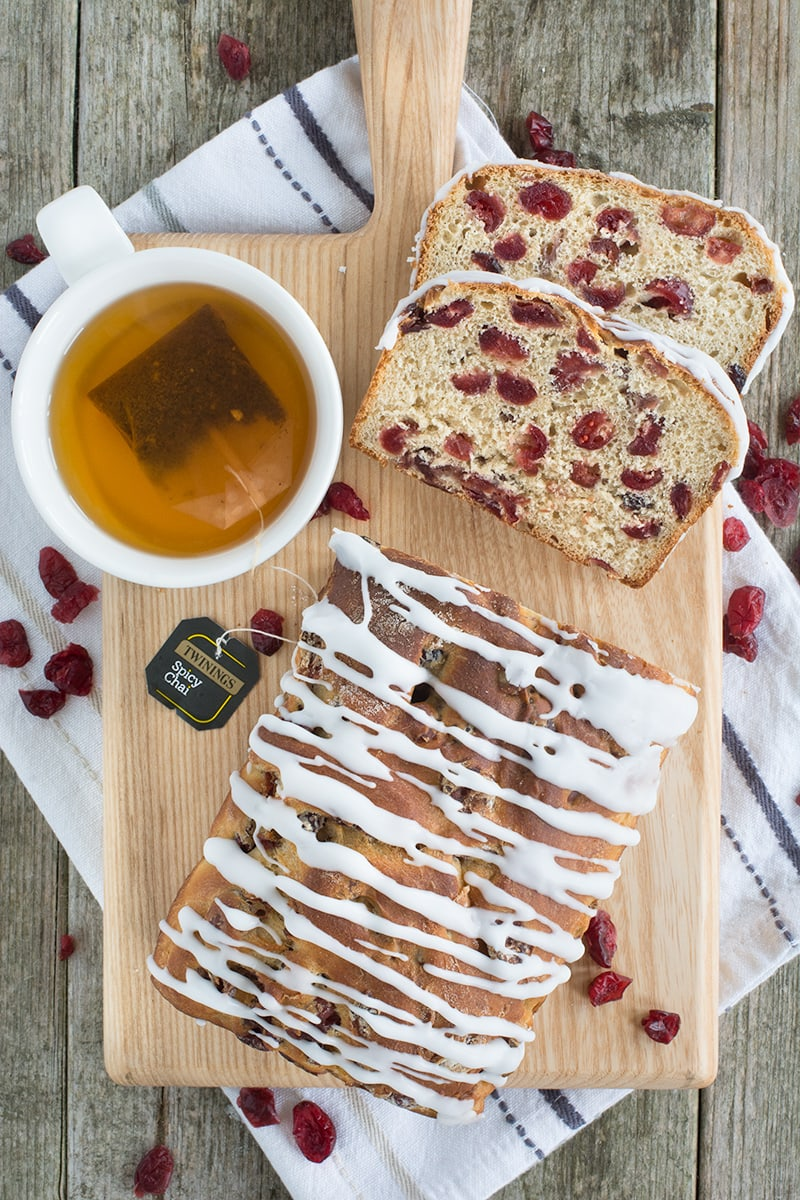 Spicy Chai Tea & Cranberry Ice Loaf - A family-sized iced bun packed full of plenty of Twinings Spicy Chai Tea-soaked cranberries.