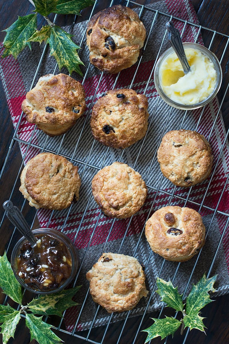 Christmas scones - brandy scones with mincemeat and marzipan. A festive twist on a classic afternoon tea treat.