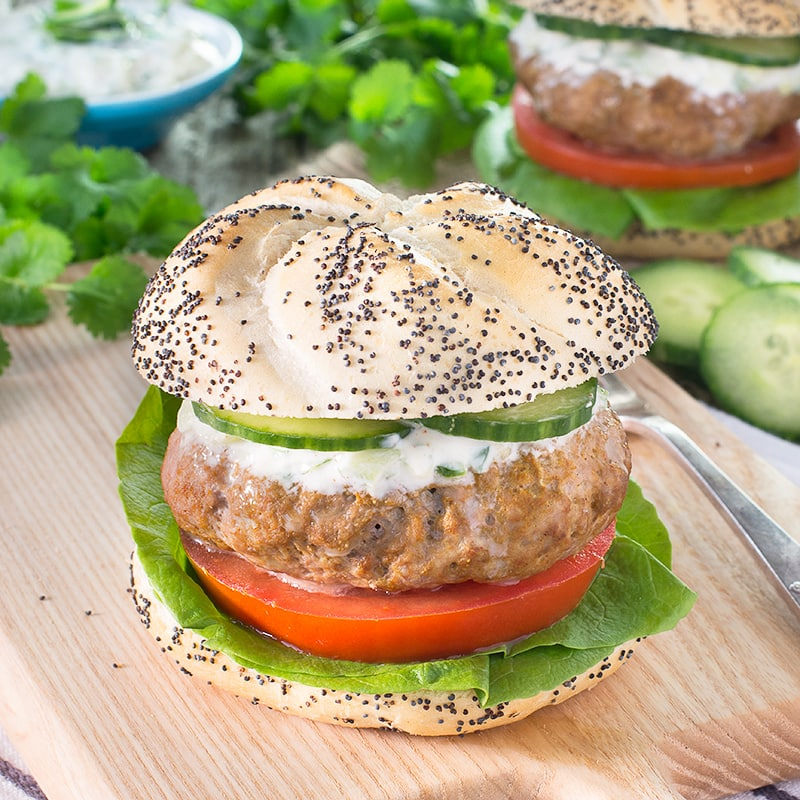 Spiced lamb burgers are so simple to make and packed full of flavour. Perfect for a quick and easy meal or BBQ served with cooling cucumber and mint raita.