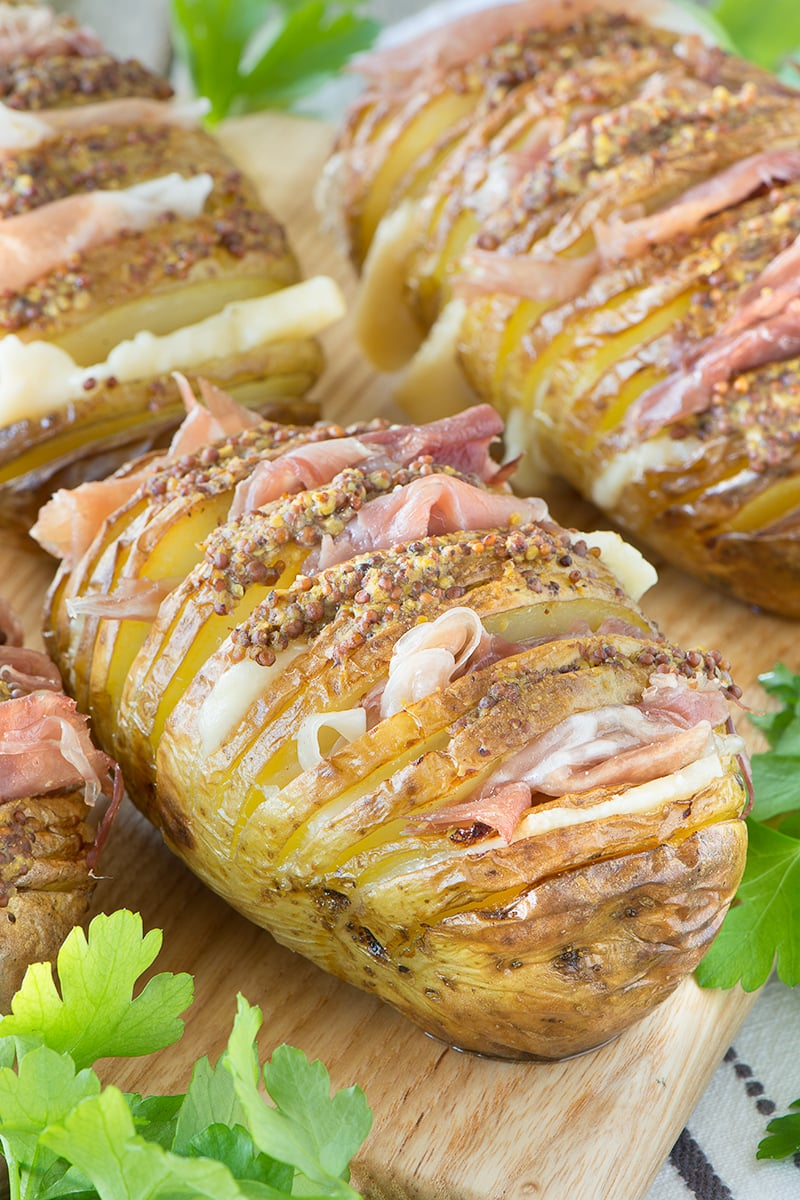 croque monsieur hasselback potatoes with prosciutto di san