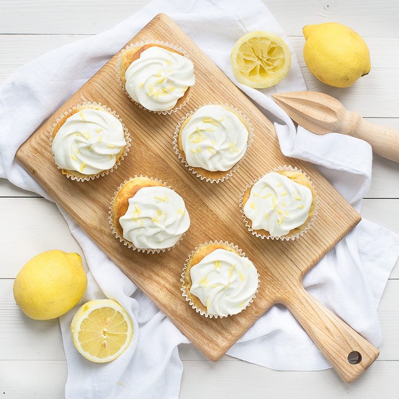 Switching the sugar for SPLENDA in these cupcakes with lemon cream cheese frosting makes for a delicious, lower calorie treat.