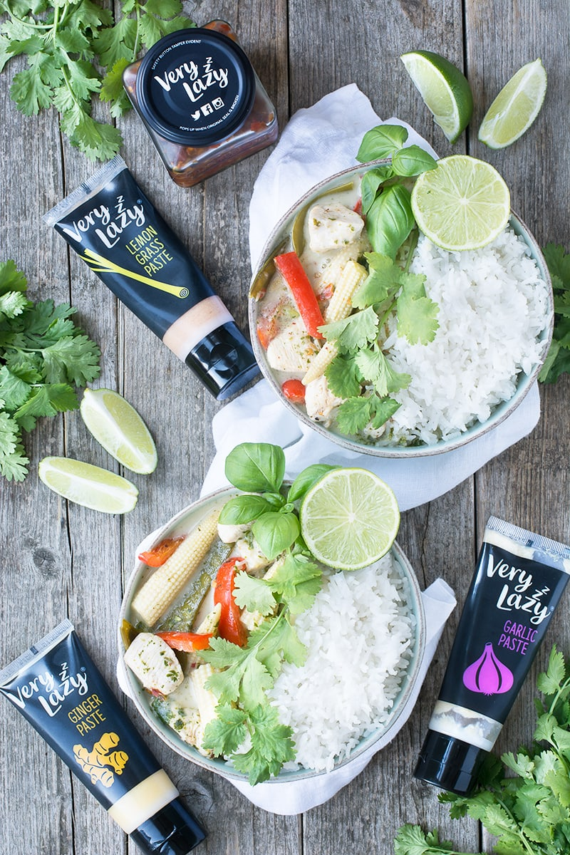 My quick version of a classic Thai Green Chicken Curry. Succulent chicken and crunchy vegetables in a fragrant coconut sauce. Absolutely delicious and ready in just 20 minutes.