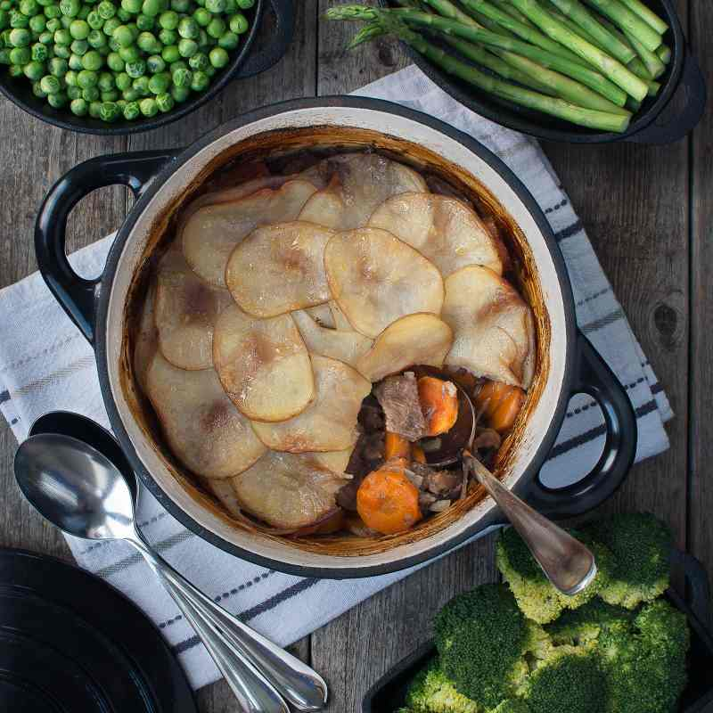 My take on a traditional Lancashire Lamb Hotpot - melt-in-the-mouth lamb and vegetables topped with crisp buttery potatoes.